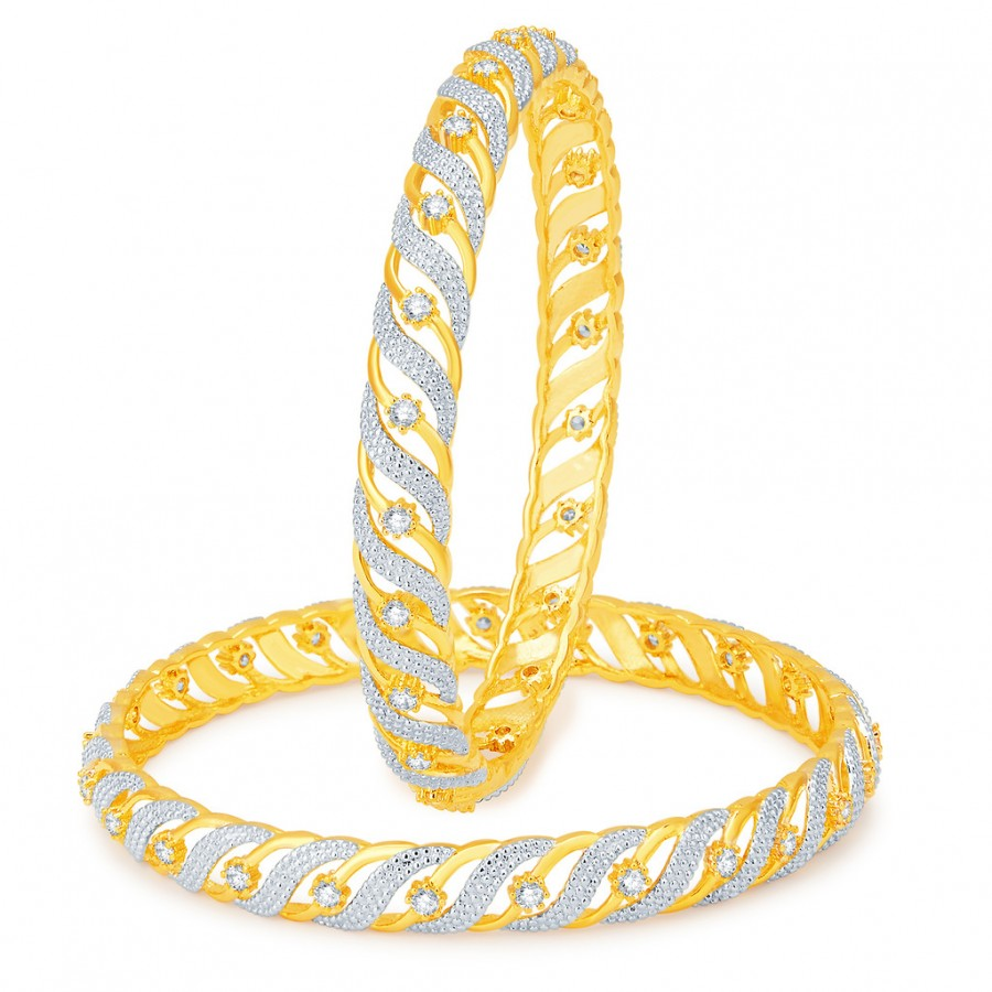 Buy Pissara Royal Gold and Rhodium Plated CZ Bangles Online