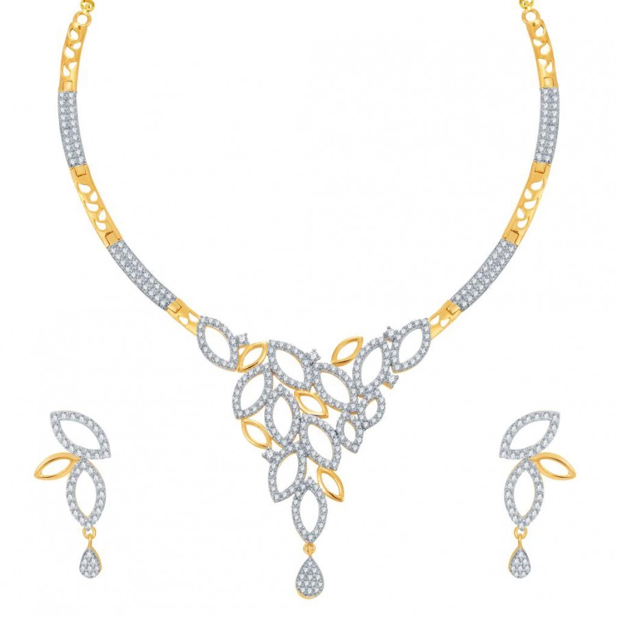 Buy Pissara Classy Gold and Rhodium Plated CZ Necklace Set Online