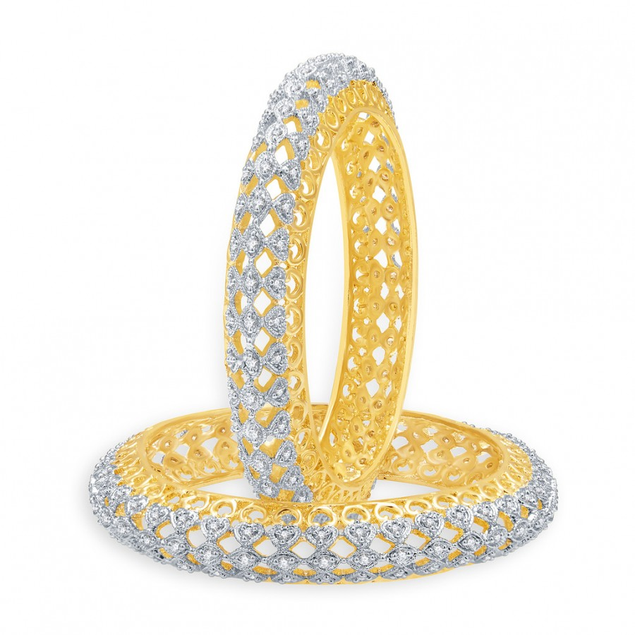 Buy Pissara Eminent Gold And Rhodium Plated CZ Bangles For Women Online