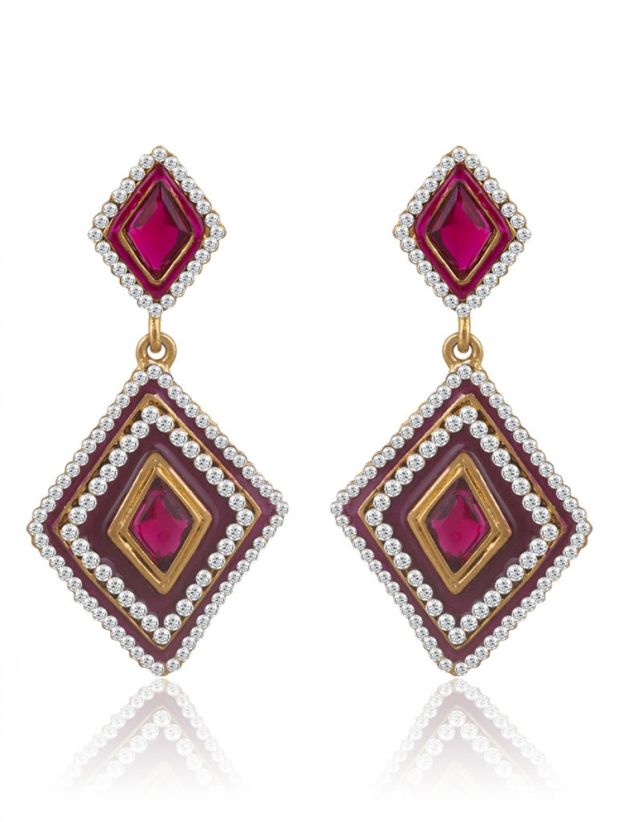 Buy Sukkhi Intricately Meenakari Gold Plated AD Earring For Women Online