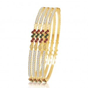 Buy Sukkhi Wavy Gold Plated AD Bangle For Women Online
