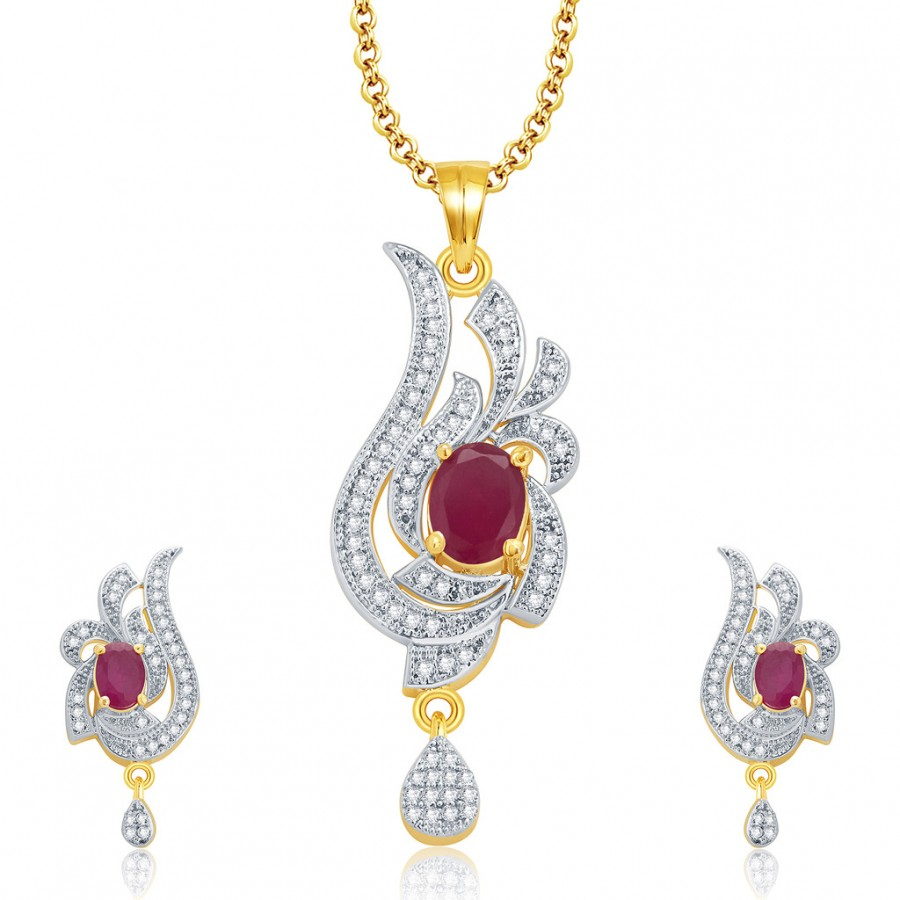 Buy Pissara Outrageous Gold And Rhodium Plated Ruby CZ Pendant Set For Women Online