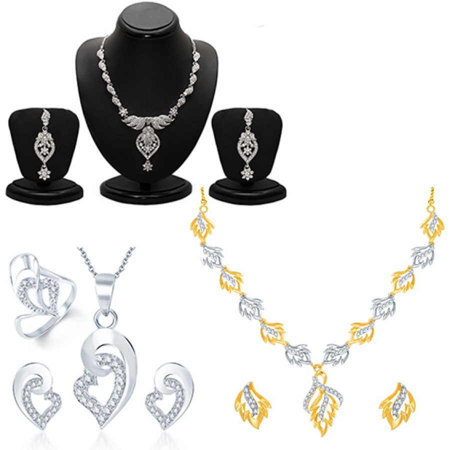 Buy Pissara Lavish Gold and Rhodium Plated AD CZ Combo Online