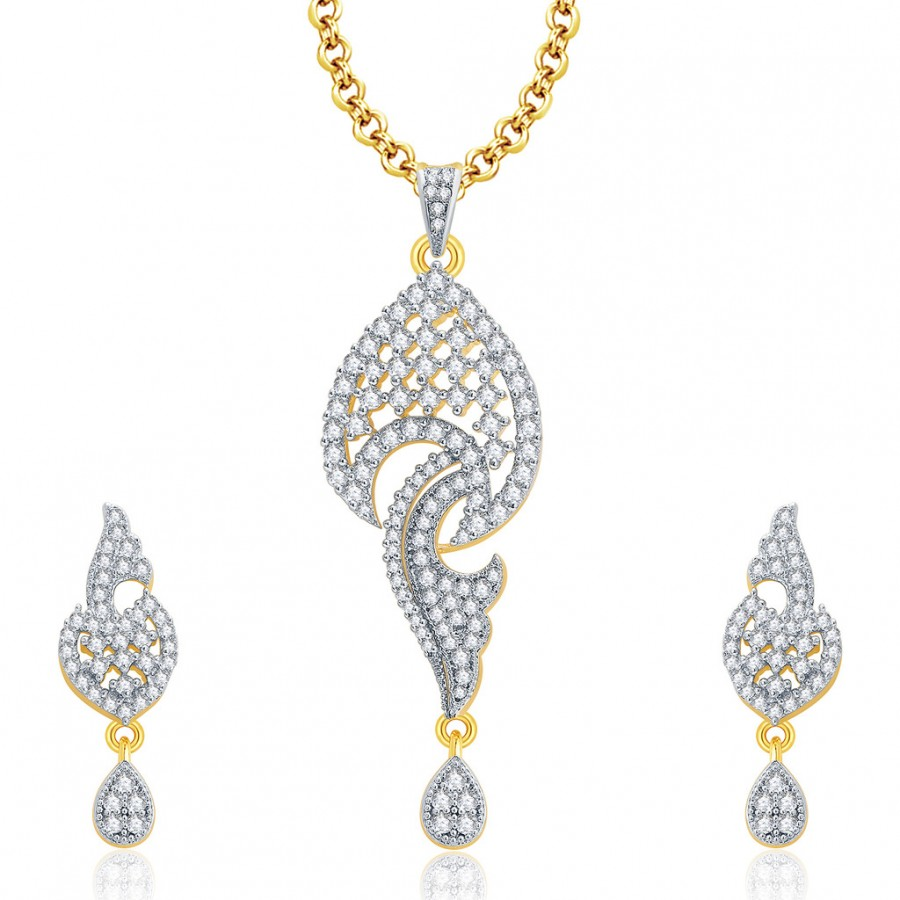 Buy Pissara Vivacious Gold And Rhodium Plated CZ Pendant Set For Women Online