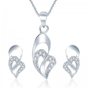 Buy Pissara Moddish Rodium plated CZ Pendant Set Online