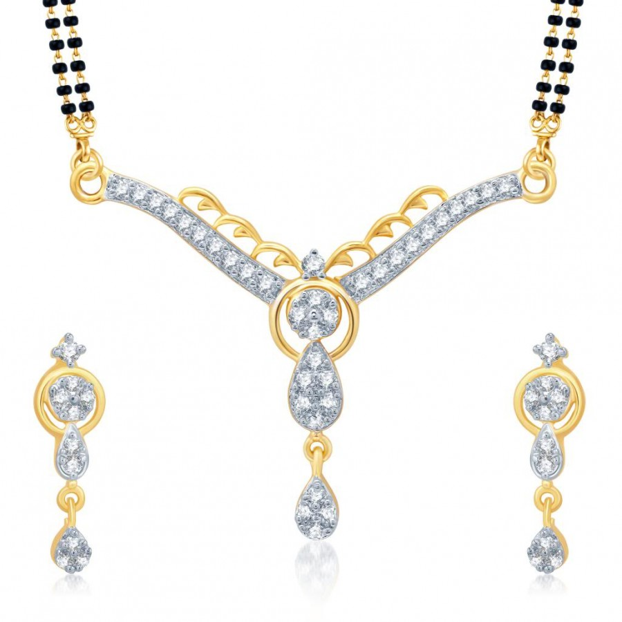 Buy Pissara Trendy Gold and Rhodium Plated Cubic Zirconia Stone Studded Mangalsutra Set Online