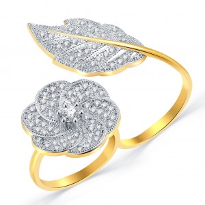 Buy Pissara Stunning Gold And Rhodium Plated CZ Ring For Women Online