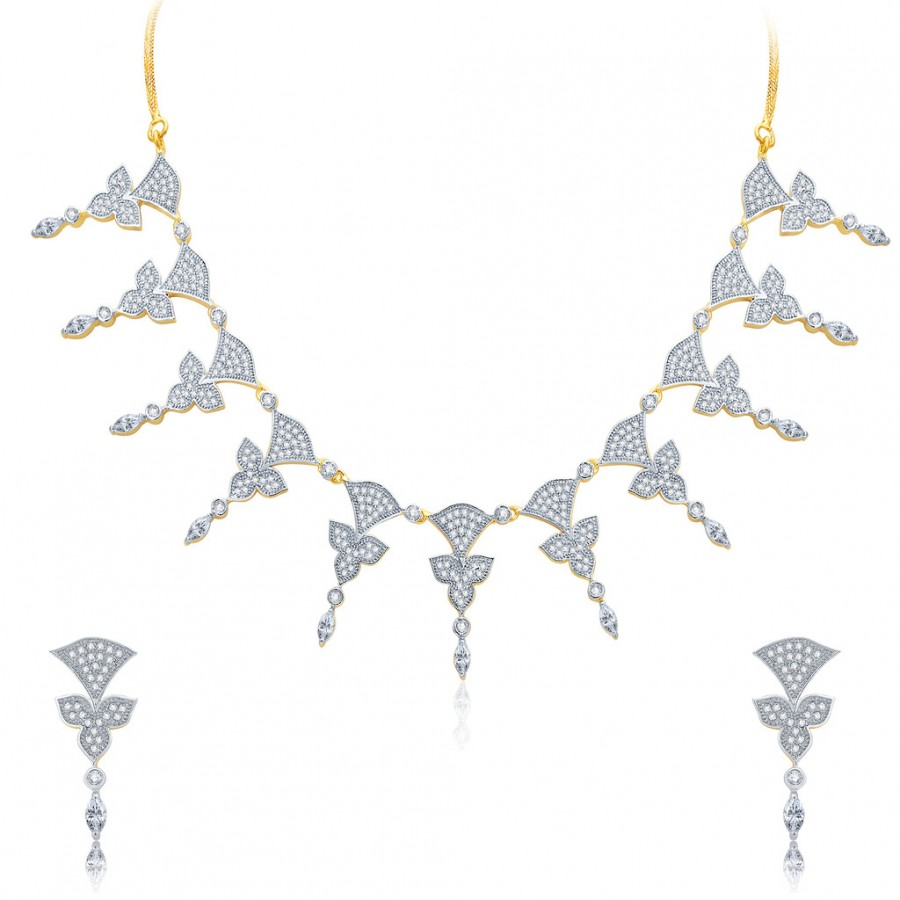 Buy Pissara Enticing Gold And Rhodium Plated CZ Neklace Set For Women Online