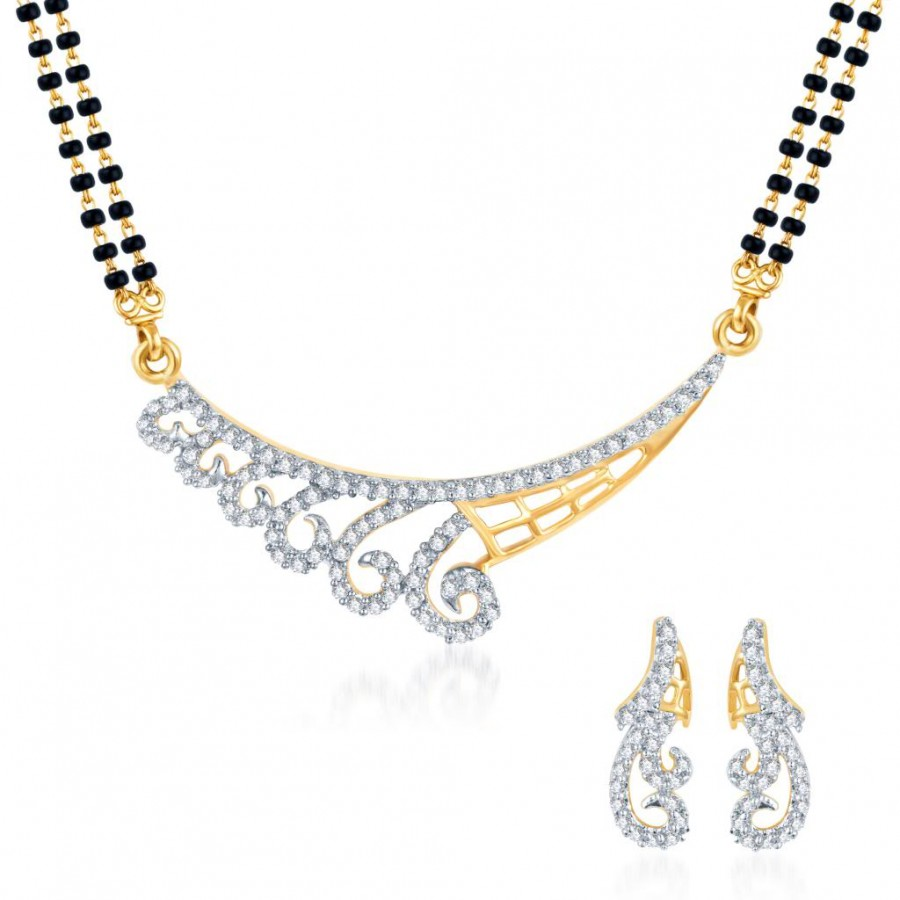 Buy Pissara Exotic CZ Gold and Rhodium Plated Mangalsutra Set Online
