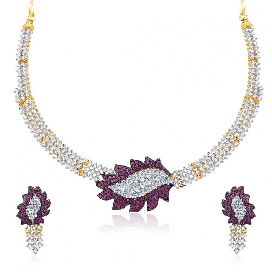 Buy Pissara Sparkly Gold And Rhodium Plated CZ Neklace Set For Women Online