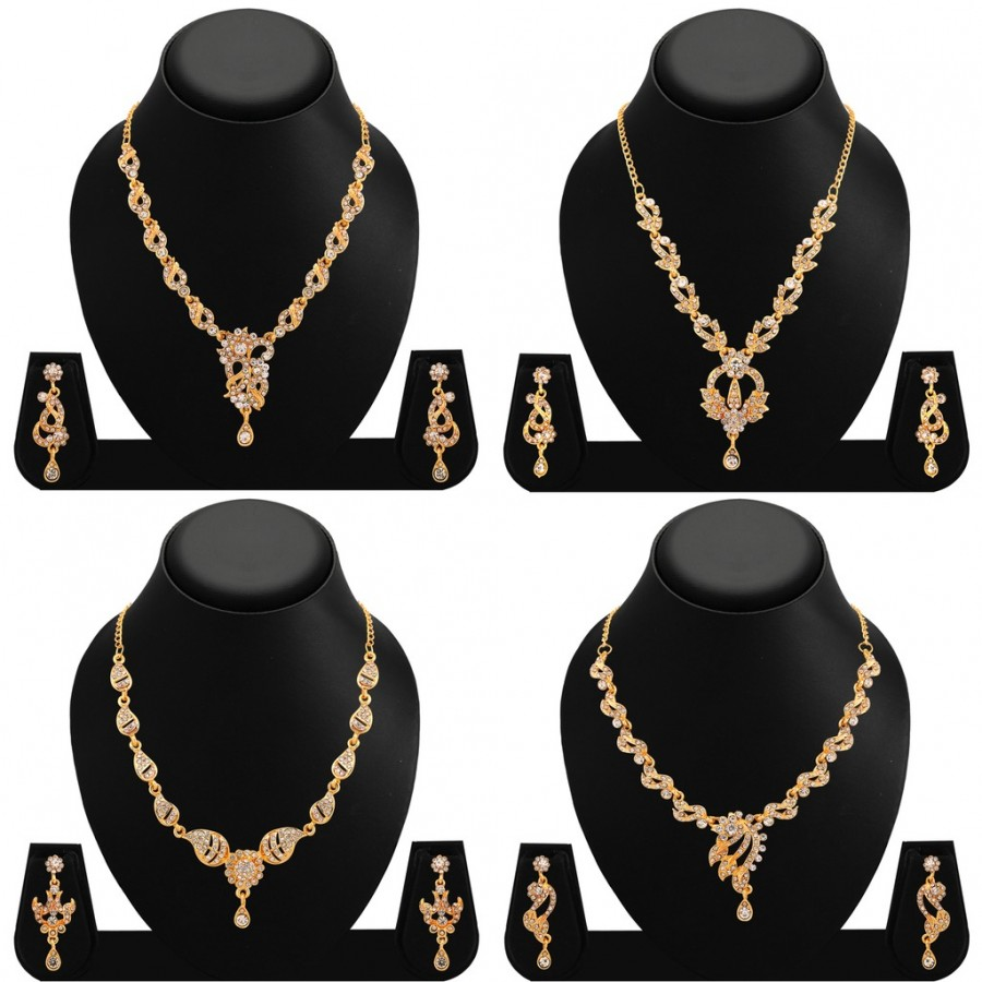 Buy Sukkhi Finely Gold Plated AD Combo Necklace For Women Online