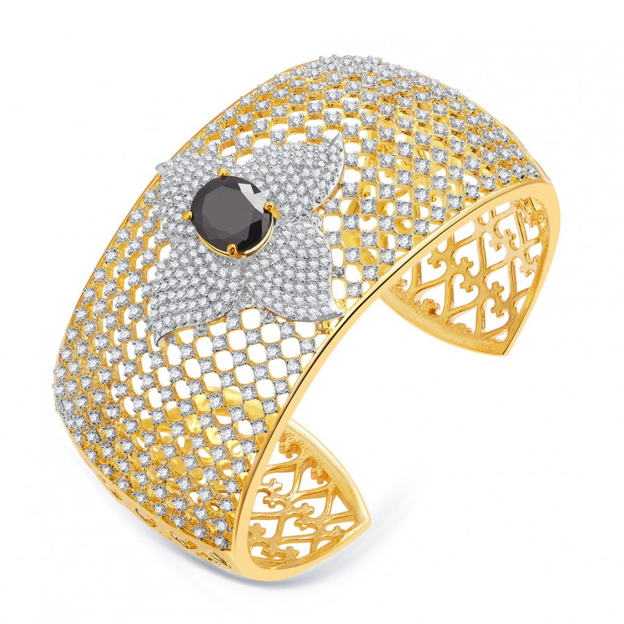 Buy Pissara Sumptuous Gold And Rhodium Plated CZ Kada For Women Online