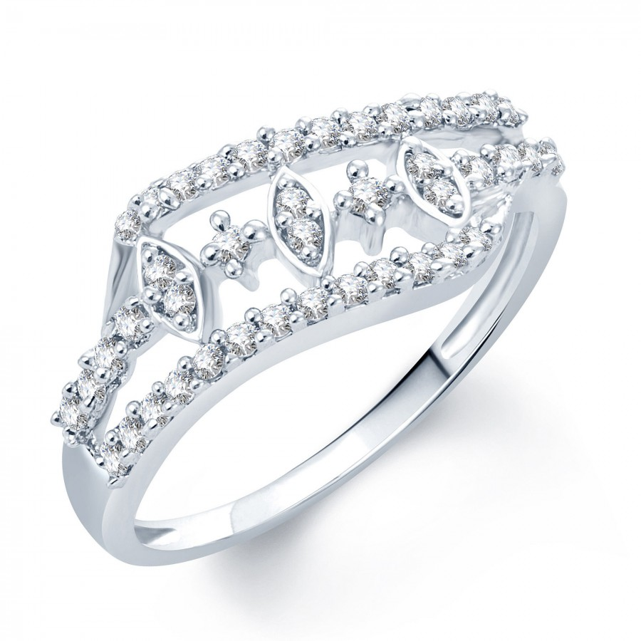Buy Pissara Alluring Rhodium Plated CZ Ring Online