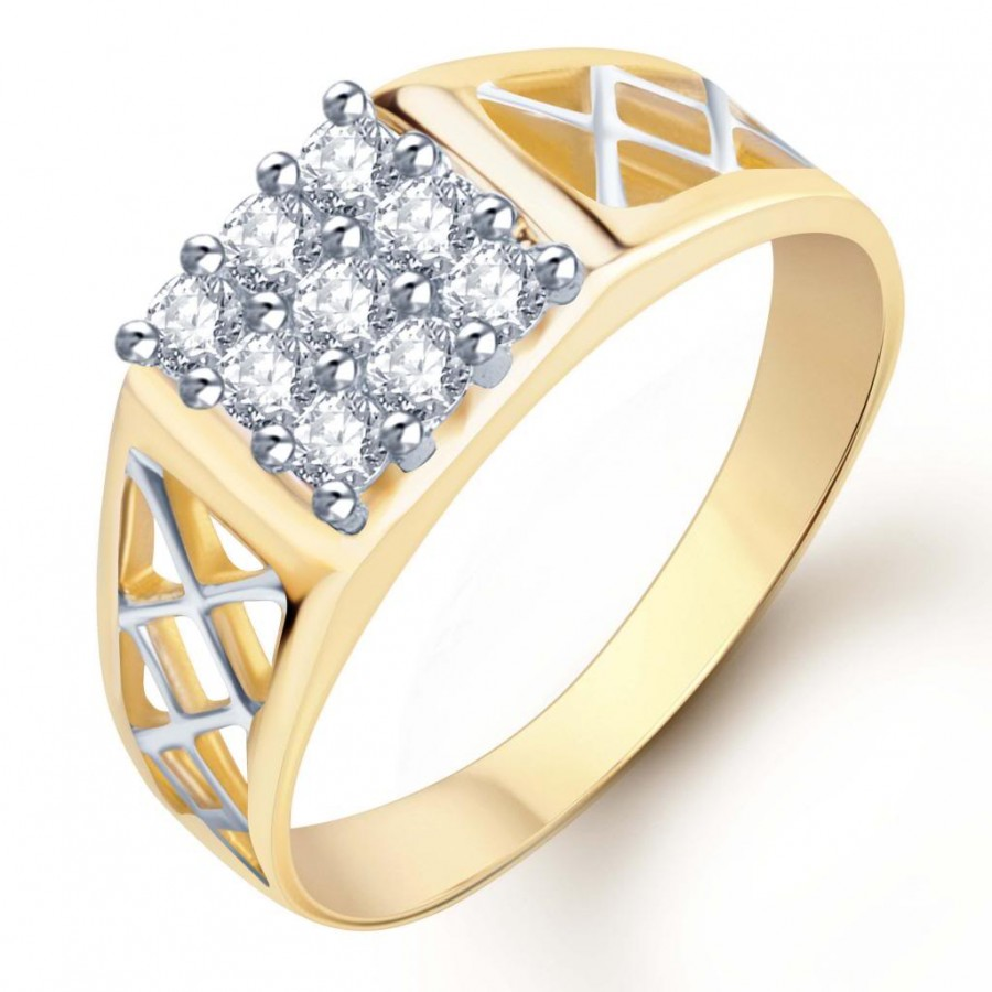 Buy Pissara Gold and Rhodium Plated CZ Ring for Men(116GRK420) Online