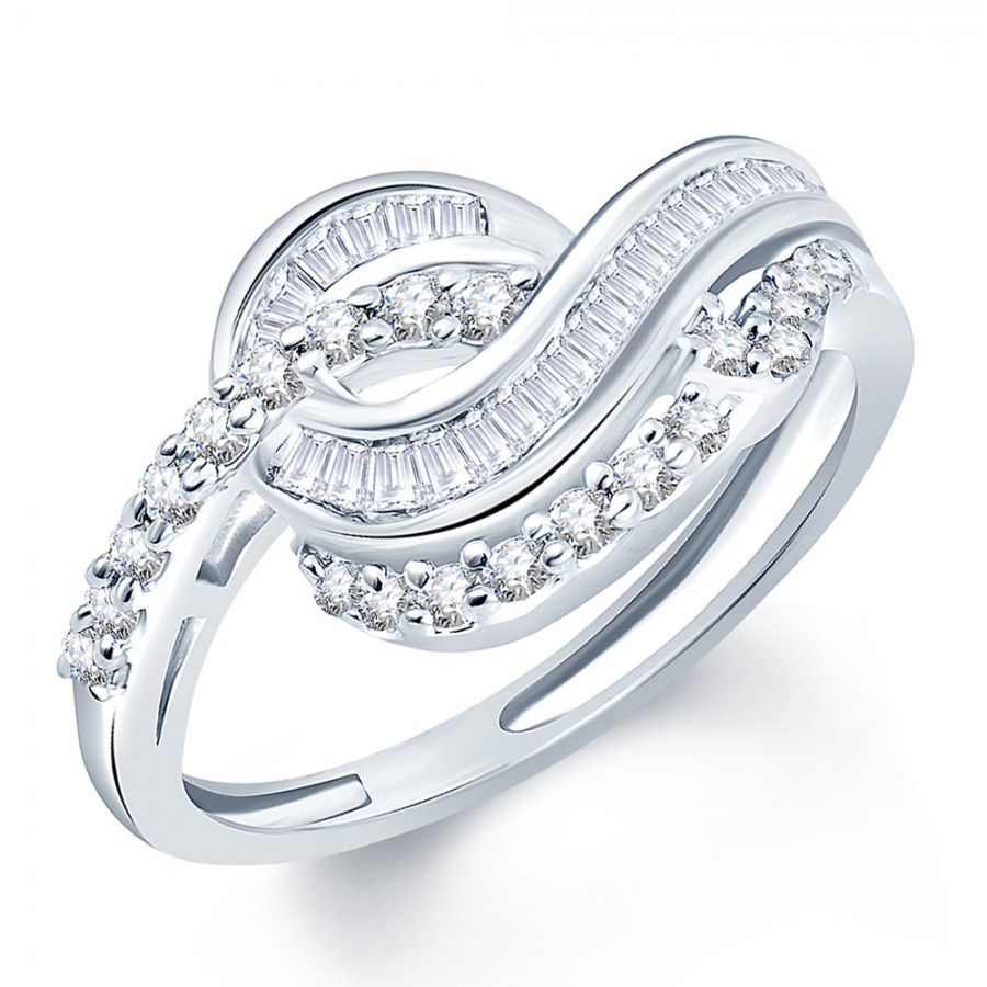 Buy Pissara Graceful Rhodium Plated CZ Ring Online