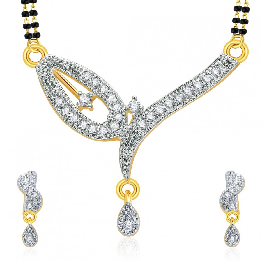 Buy Pissara Breathtaking Gold And Rhodium Plated CZ Mangalasutra Set For Women Online