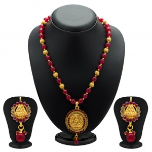 Buy Sukkhi Exquisite Gold Plated AD Temple Jewellery Necklace Set for Women Online