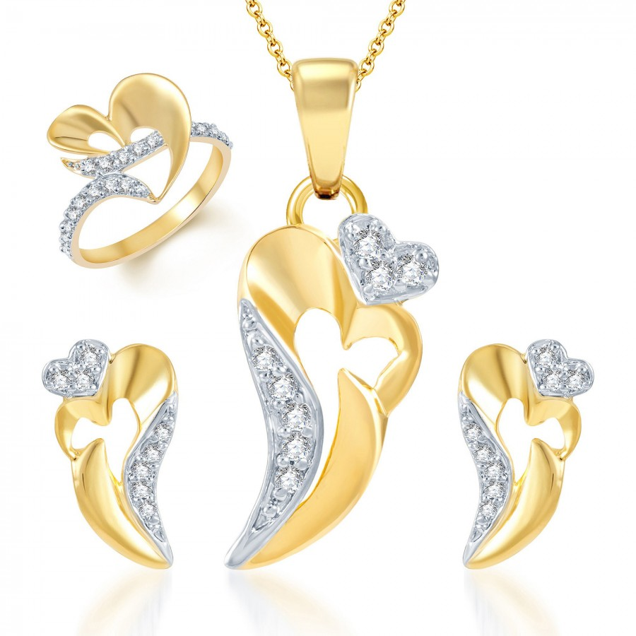 Buy Pissara Ravishing Gold and Rhodium Plated CZ Pendant Set and Ring Combo Online