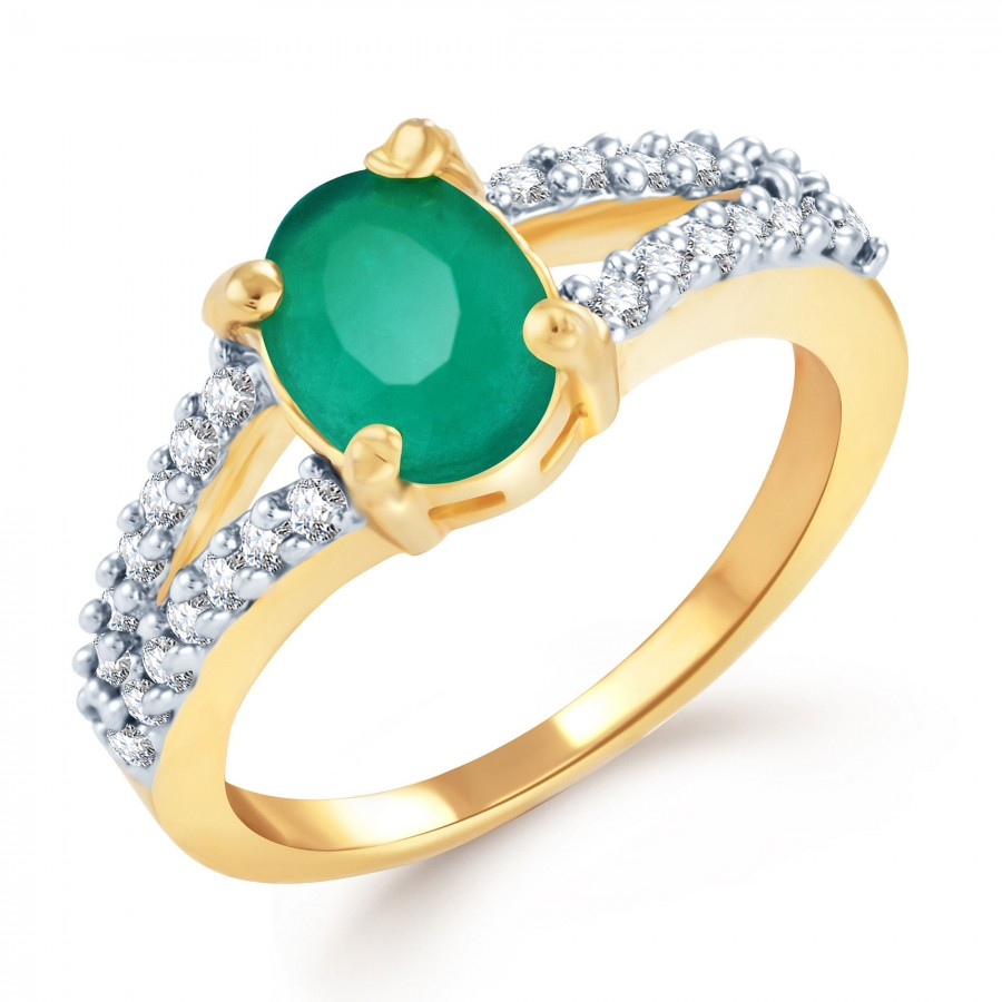 Buy Pissara Estonish Gold and Rhodium Plated Emerald CZ Ring Online
