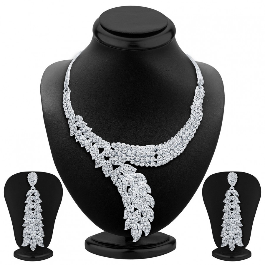 Buy Sukkhi Classic Rhodium Plated AD Necklace Set Online
