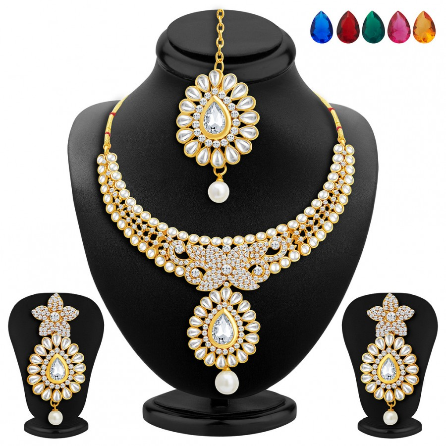 Buy Sukkhi Traditionally Gold Plated AD Necklace Set with Set of 5 Changeable Stone Online