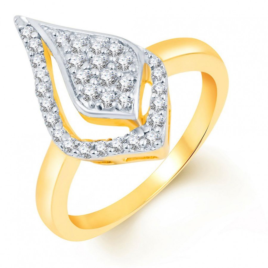 Buy Pissara Fine Design Two Tone CZ Studded Ring Online