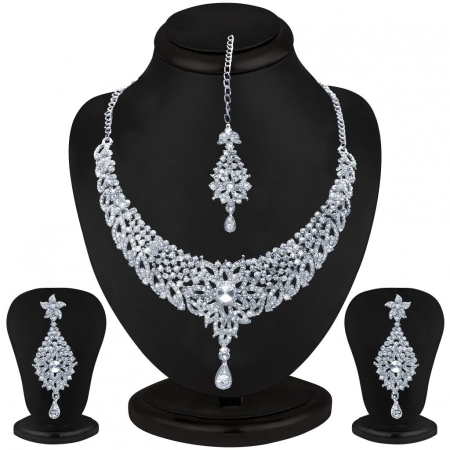 Buy Sukkhi Splendid Rhodium plated AD Stone Necklace Set Online