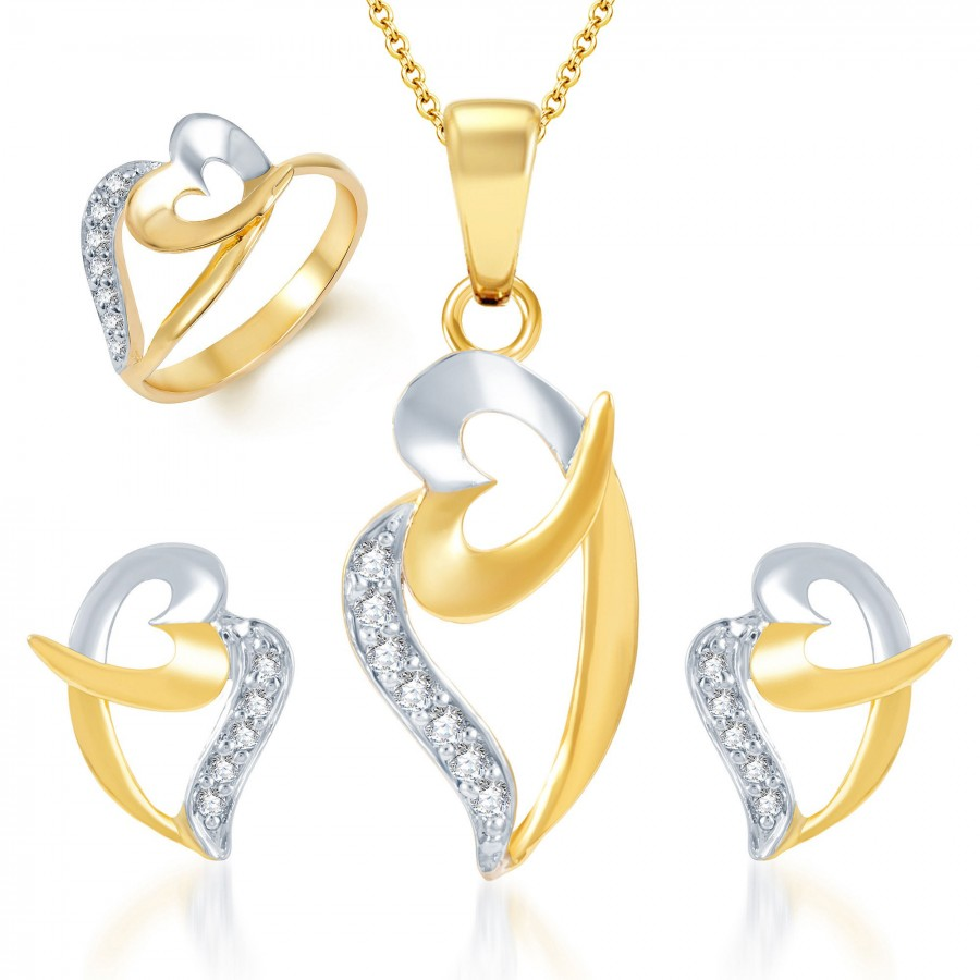Buy Pissara Bewitching Gold and Rhodium Plated CZ Pendant Set and Ring Combo Online