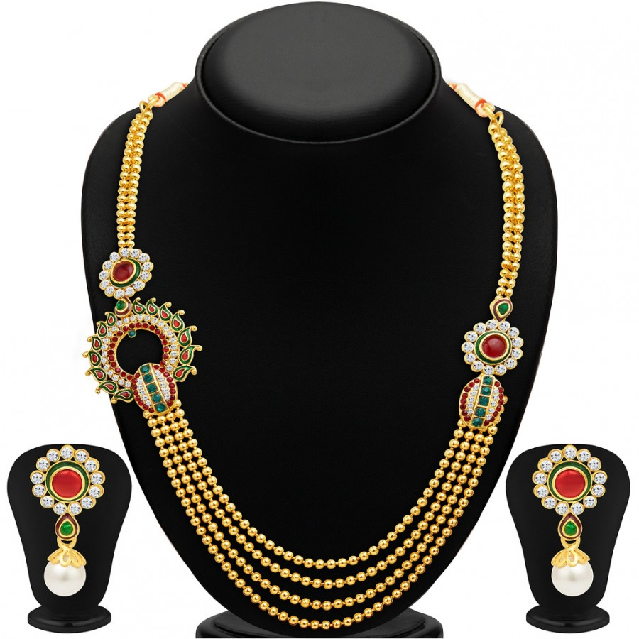 Buy Sukkhi Fabulous Four Strings Gold Plated Necklace Set Online