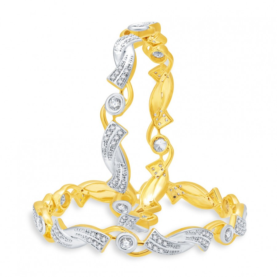 Buy Pissara Stunning Gold And Rhodium Plated CZ Bangles For Women Online