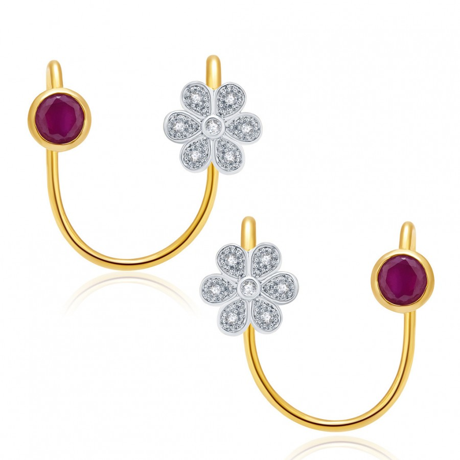 Buy Pissara Striking Gold And Rhodium Plated Ruby CZ Earcuff For Women Online