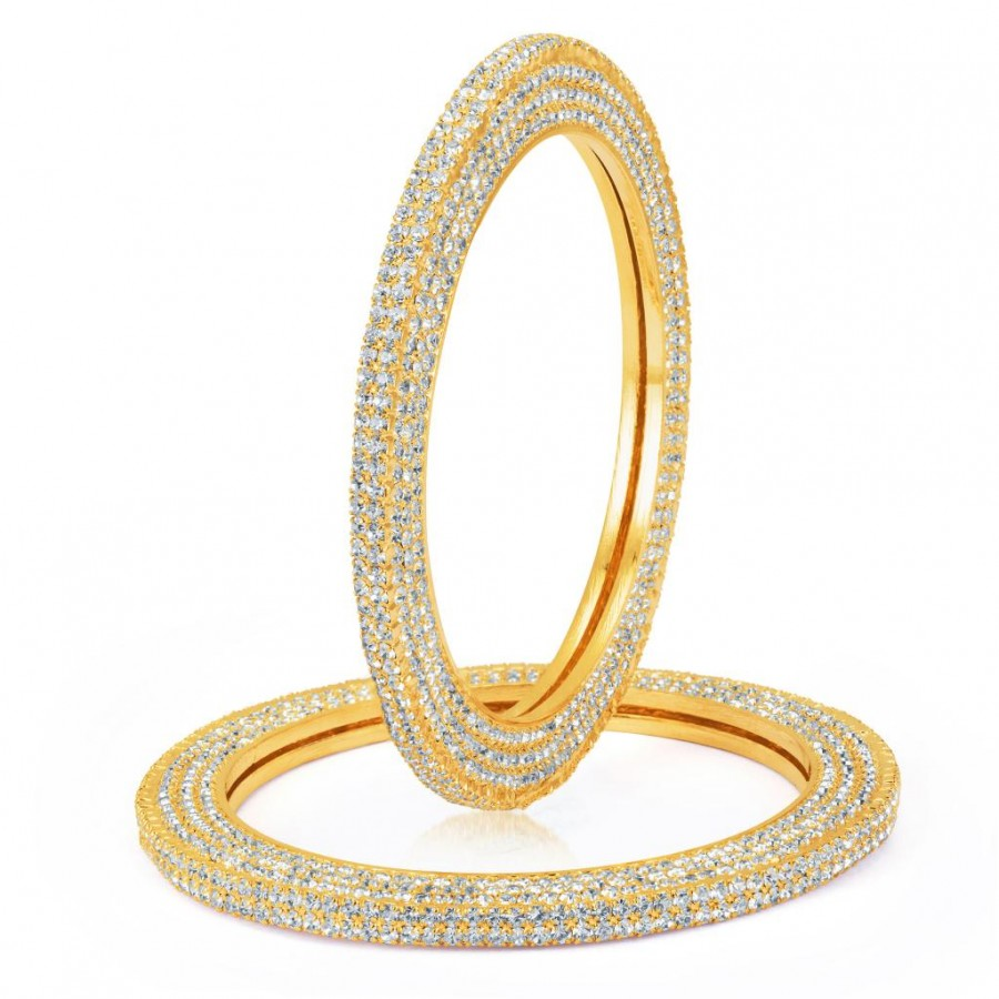 Buy Sukkhi Excellent Gold Plated AD One Pair of Kada for Women Online