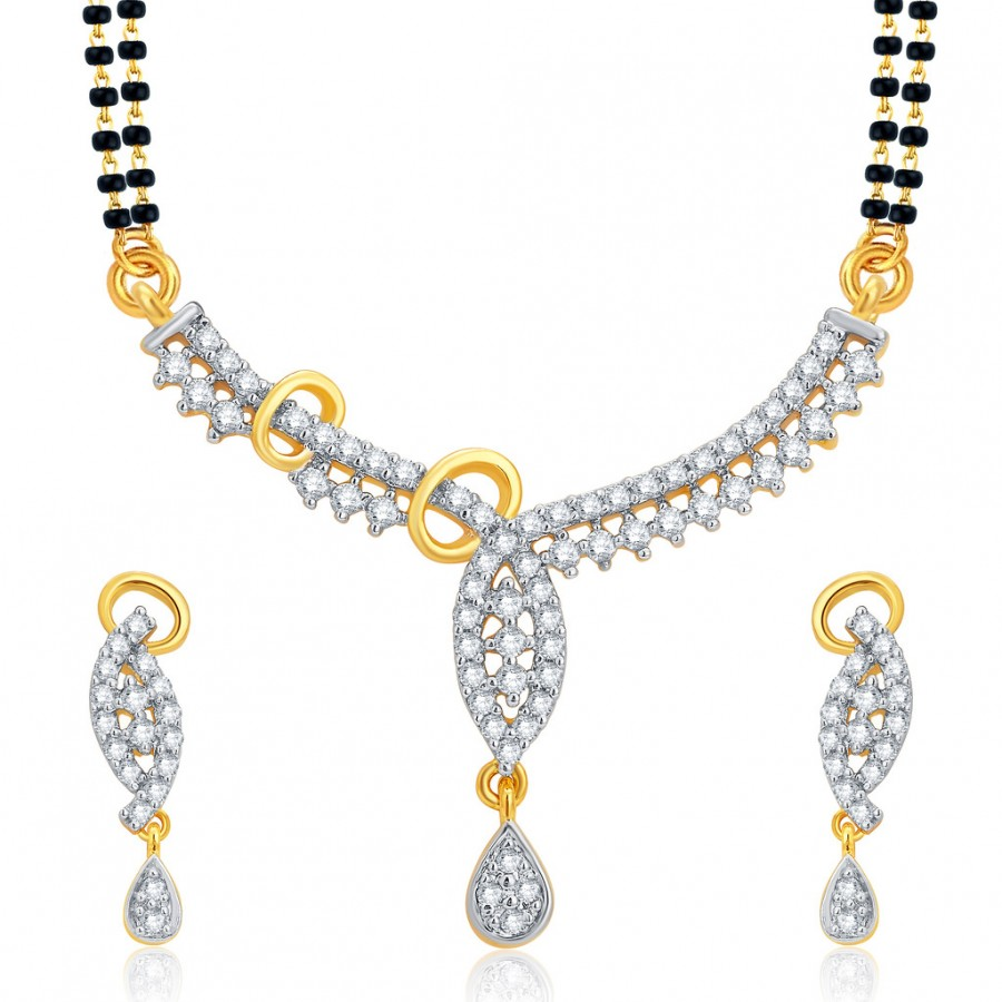 Buy Pissara Pretty Gold and Rhodium Plated CZ Mangalsutra Set For Women Online