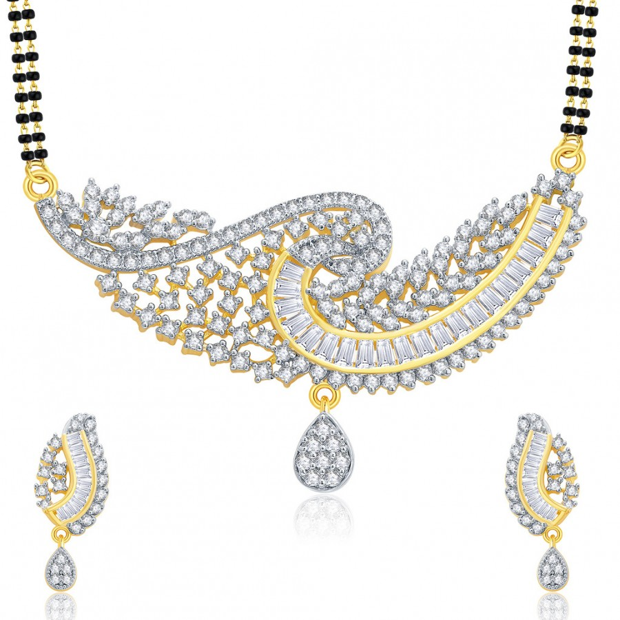 Buy Pissara Gorgeous Gold And Rhodium Plated CZ Mangalasutra Set For Women Online