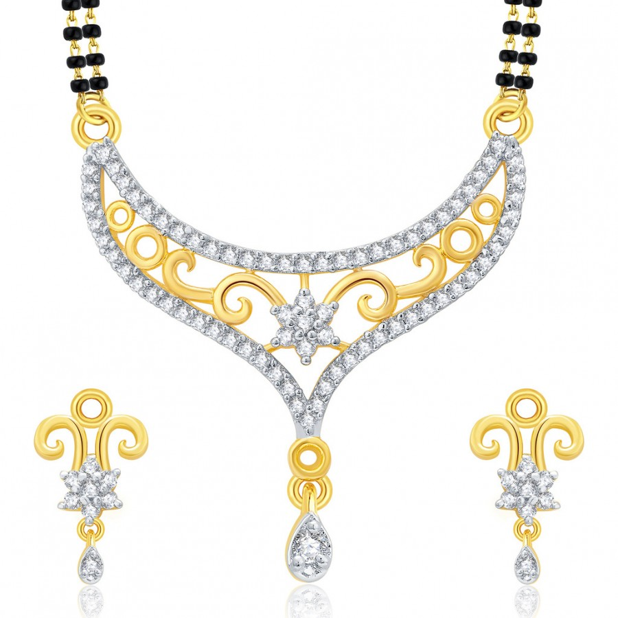 Buy Pissara Precious Gold And Rhodium Plated CZ Mangalasutra Set For Women Online