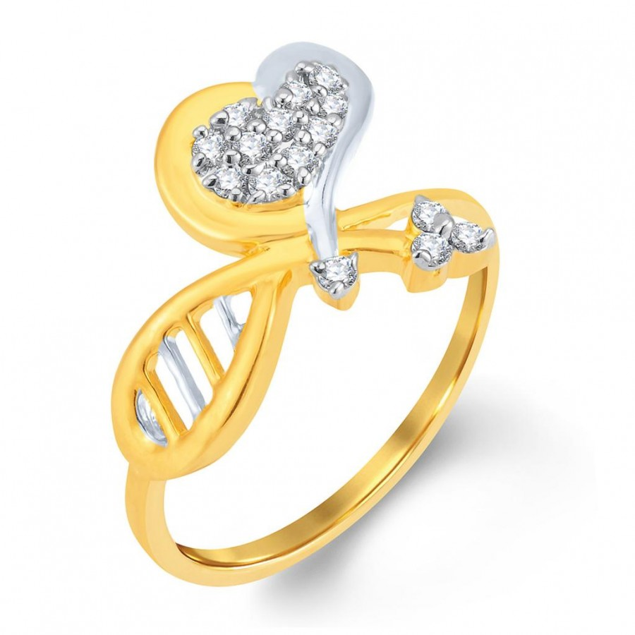 Buy Pissara Elegant Gold and Rhodium Plated Cubic Zirconia Ring Online