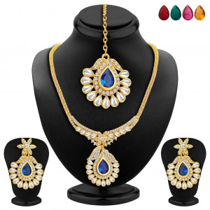 Buy Sukkhi Resplendent Gold Plated AD Necklace Set with Set of 5 Changeable Stone Online