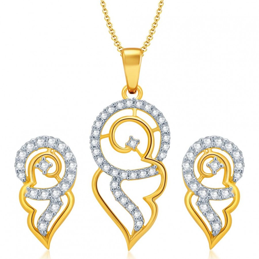 Buy Pissara Fabulous Gold and Rhodium Plated CZ Pendant Set for Women Online