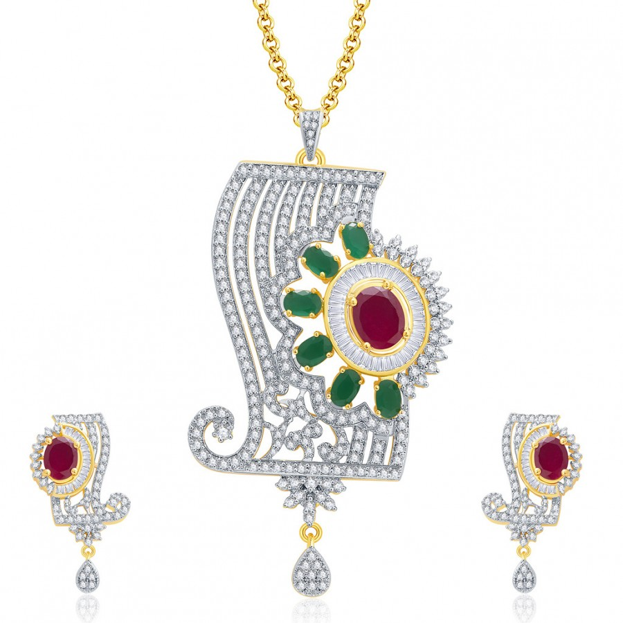 Buy Pissara Mystical Gold And Rhodium Plated Ruby CZ Pendant Set For Women Online