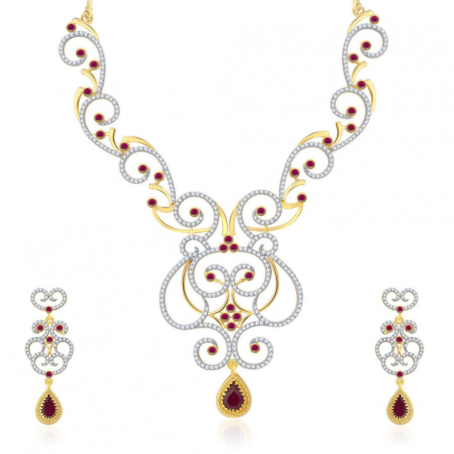 Buy Pissara Shimmering Gold And Rhodium Plated Ruby CZ Neklace Set For Women Online