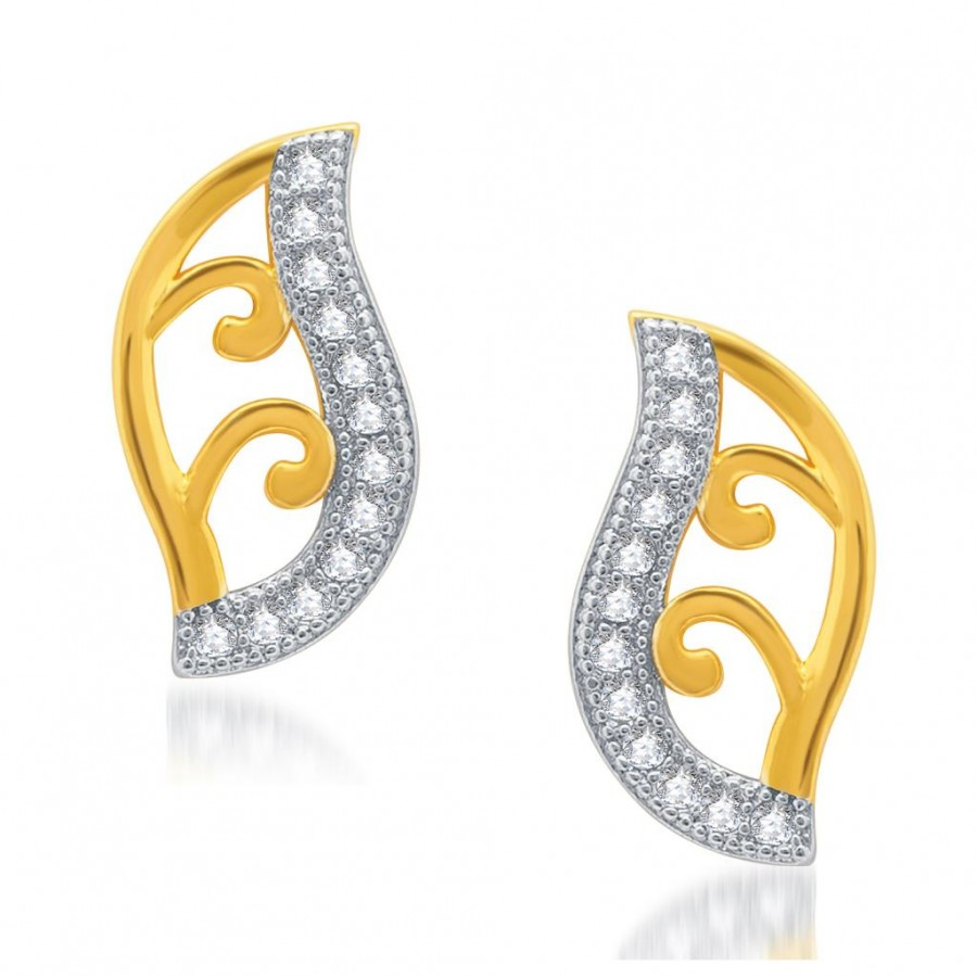 Buy Pissara Shimmering Gold and Rhodium Plated Micro Pave CZ Earrings Online