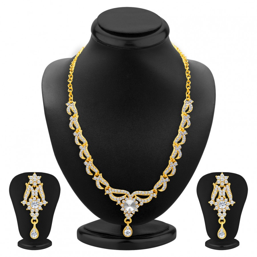 Buy Sukkhi Fancy Gold Plated AD Necklace Set For Women Online