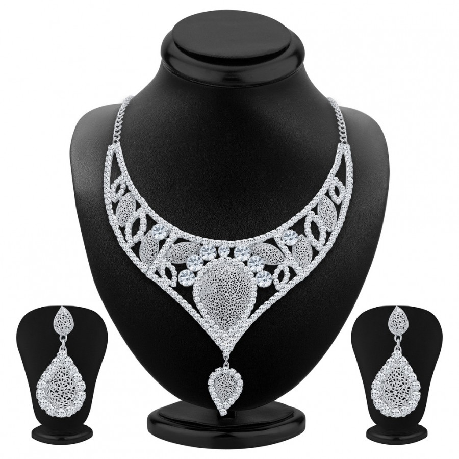 Buy Sukkhi Fascinating Rhodium Plated AD Necklace Set For Women Online