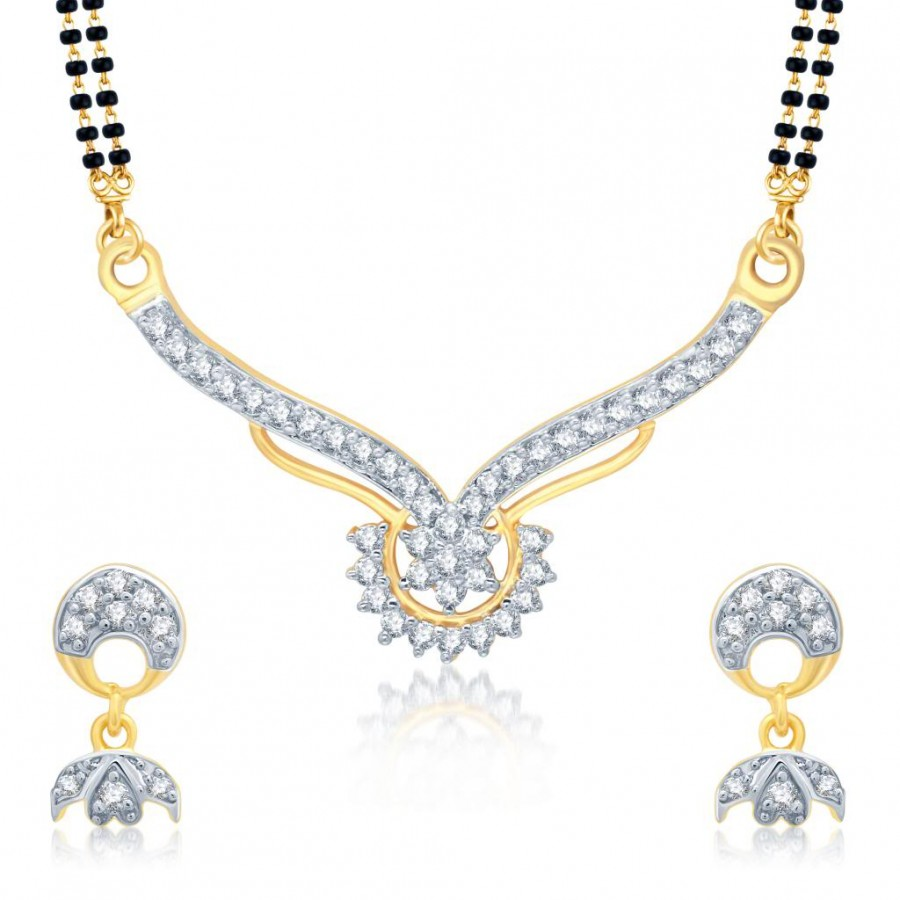 Buy Pissara Marvelous Gold and Rhodium Plated Cubic Zirconia Stone Studded Mangalsutra Set Online