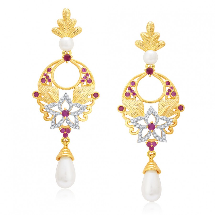 Buy Pissara Chandelier Gold And Rhodium Plated Ruby CZ Earrings For Women Online