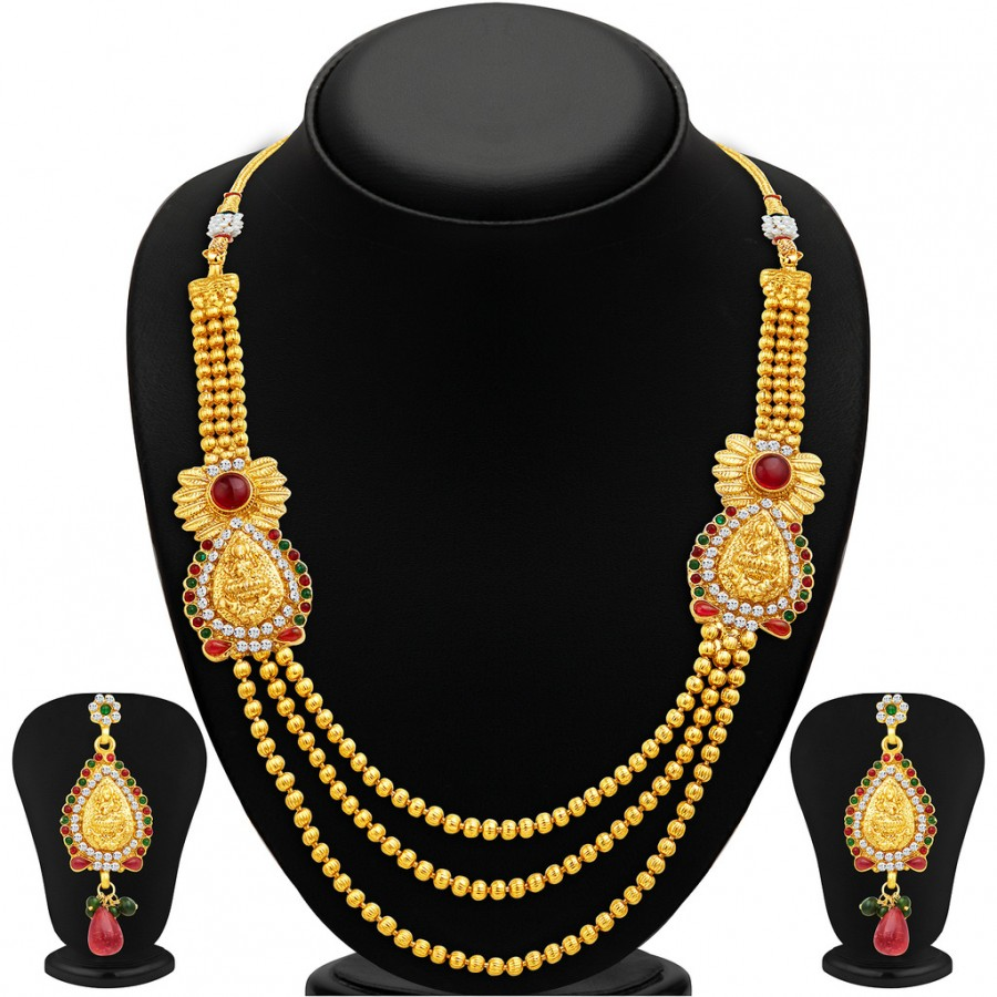Buy Sukkhi Incredible Three Strings Temple Jewellery Gold Plated Necklace Set Online