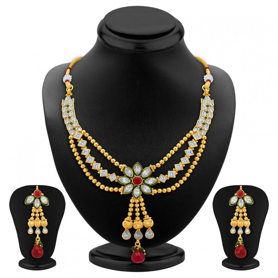 Buy Sukkhi Appealing Three Strings Gold Plated AD Necklace Set Online