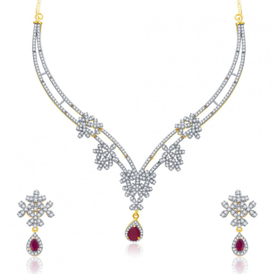 Buy Pissara Engaging Gold And Rhodium Plated Ruby CZ Neklace Set For Women Online