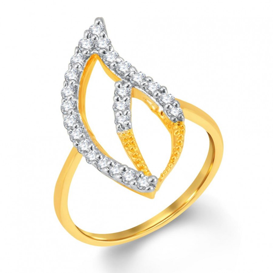 Buy Pissara Pretty Gold and Rhodium Plated Cubic Zirconia Ring Online