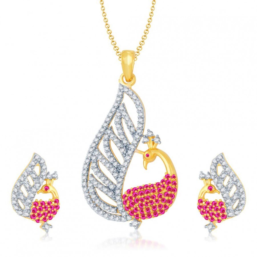 Buy Pissara Glamorous Gold and Rhodium Plated Cubic Zirconia and Ruby Stone Studded Pendant Set Online